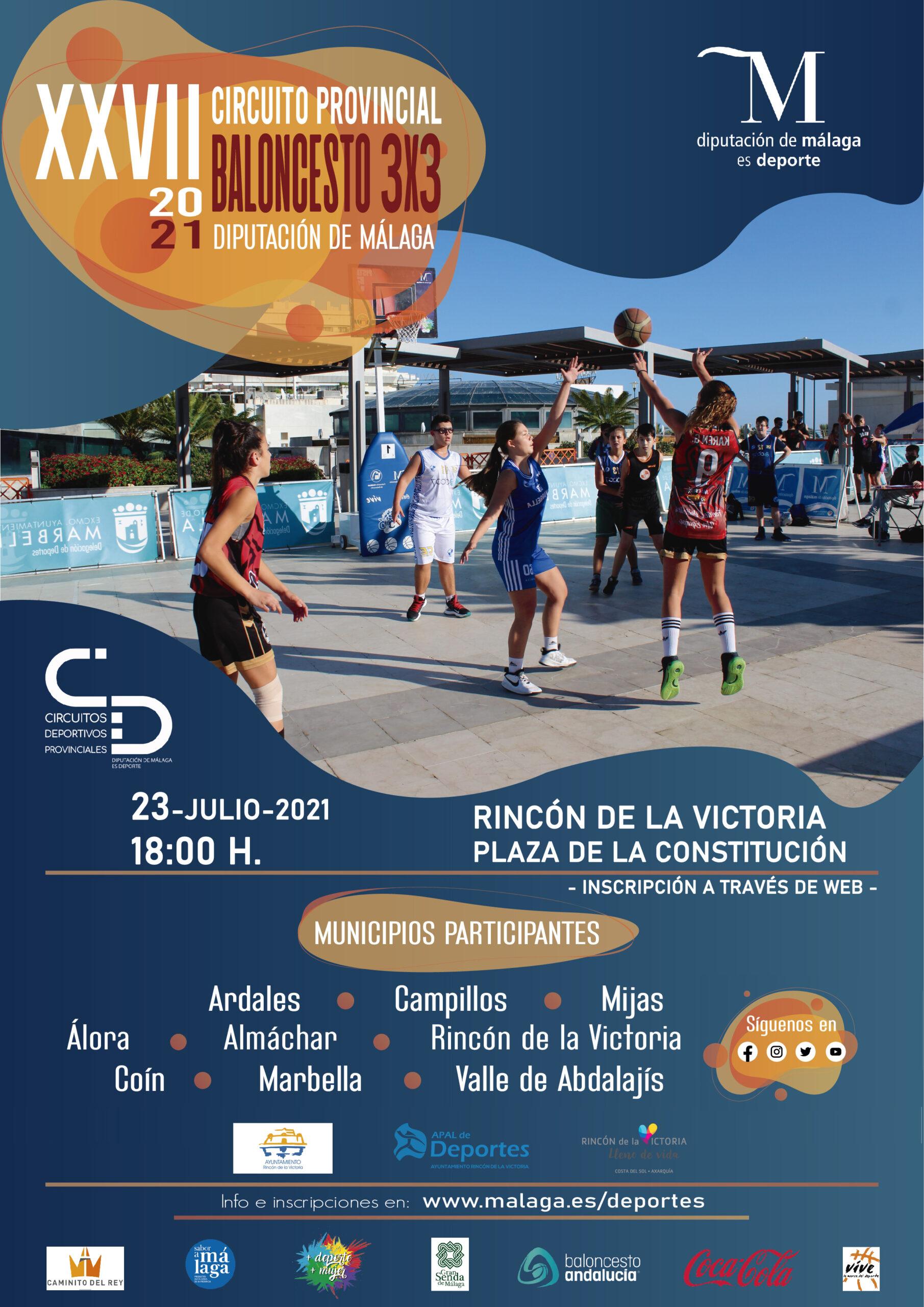 Rincón de la Victoria acoge el XXVII Circuito Provincial de Baloncesto 3×3 de la Diputación con más de 200 participantes